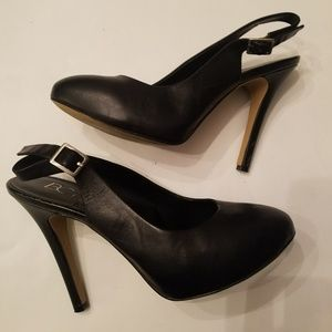 Black Leather Sling-backs
